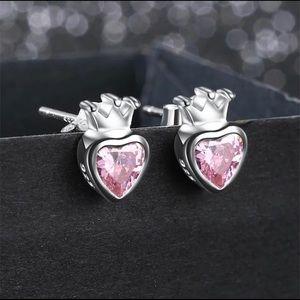 Heart with Crown Earrings